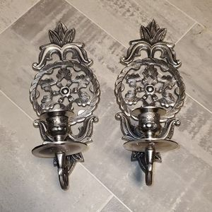 Set of 3 Silver Heavy Metal Candle Sconces